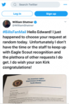 Shatner sends personal congratulatory tweet to Missouri's Eagle Scout of the Year