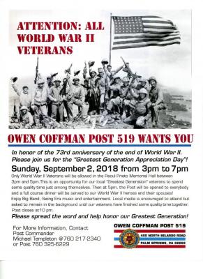 """Post 519 and K6TAL sponsors """"Greatest Generation Appreciation Day"""""""
