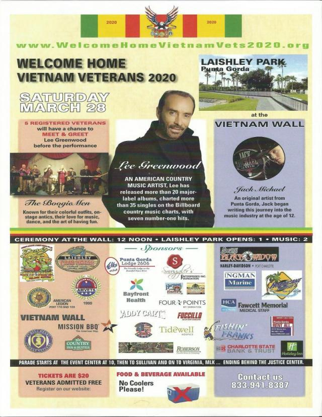 Welcome Home Vietnam Veterans Day 2020.Lee Greenwood To Headline Vietnam Welcome Home Event With