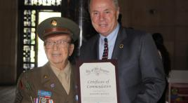 "World War II veteran ""Bazooka"" Joe Pietroforte recognized by Los Angeles City Council"