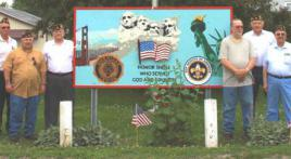 Town Center Sign Honoring Verterans