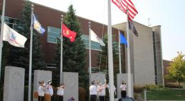 Flag rotation at Hoffman Estates Veterans Memorial