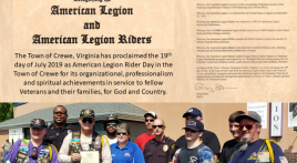 Crewe, VA Proclaims American Legion Rider Day
