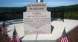 Veteran's Memorial flagpole and stone