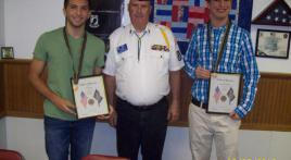 Boys Staters from Post 284 receive medals and certificates