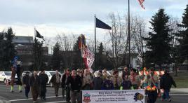 Boy Scout Troop 214 marches to support their post on Veterans Day