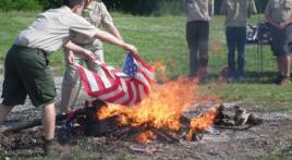 Cloverdale, Ind., Boy Scouts perform flag retirement ceremony