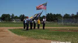 American Legion Post 492 Color Guard posts the colors at youth baseball tournament in Central Wisconsin