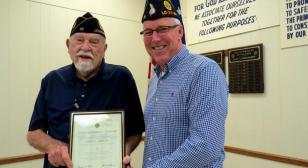 Ardoin receives 70-Year American Legion Membership Certificate