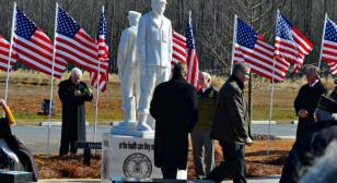 Cherokee County (Ga.) veterans dedicate the nation's first homeless veteran statue in ceremony