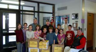 Local students collect items for distribution to our troops overseas.