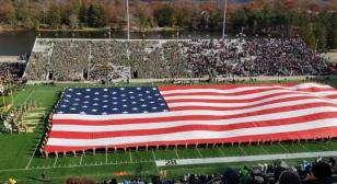 West Point field-sized flag at halftime veterans tribute