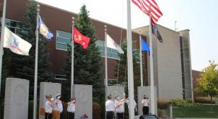 Flag rotation at Hoffman Estates Veterans Memorial