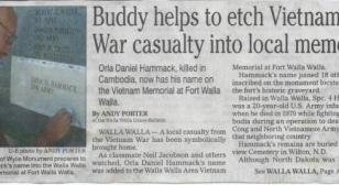 Buddy helps etch Vietnam War casualty into local memory