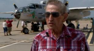 World War II veteran flies in same B-25 bomber decades later