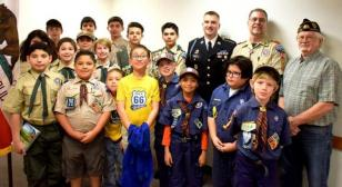 Tomb of the Unknown Solider Sentinel speaks to Monrovia Troop 66