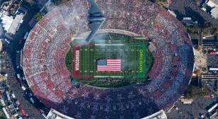 B-2 stealth bomber flies over the 2020 Rose Bowl game