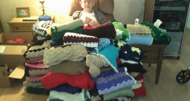 95 Year Old Navy SeaBee Crochets Over One Hundred Twenty Blankets to Donate to Veterans in November